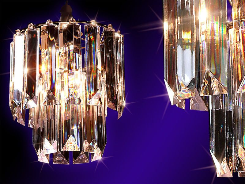 2 Tier Bar Style Clear Crystal Effect Perspex Pendant Chandelier ...