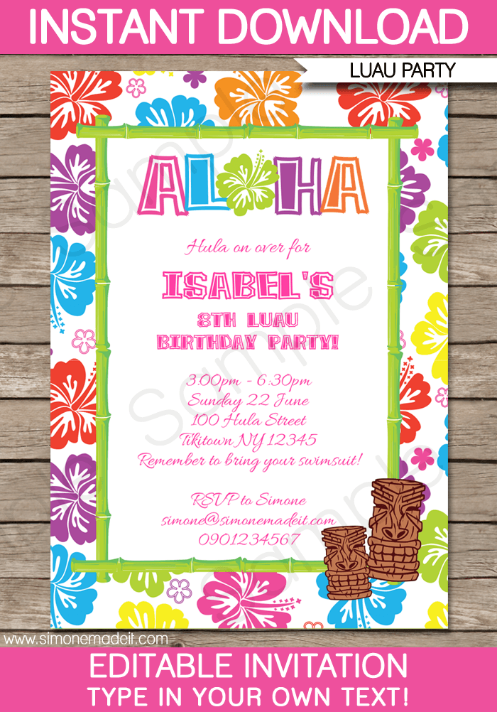 luau party invitations template in 2018 pool parties luau party