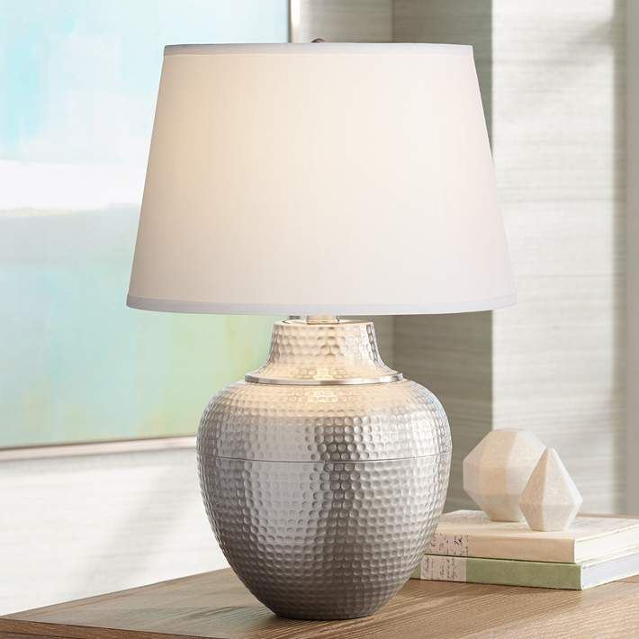 Brighton Hammered Pot Brushed Nickel Table Lamp X4787 Lamps