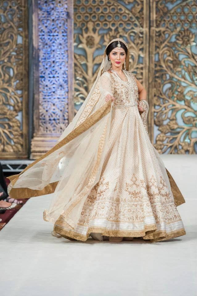 Dramatic White and Gold Pakistani Anarkali Style Bridal Gown ...