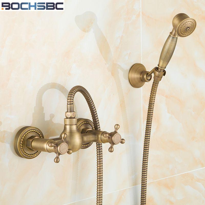 Bochsbc European Rain Shower Set Antique Brass Tub Shower Faucet