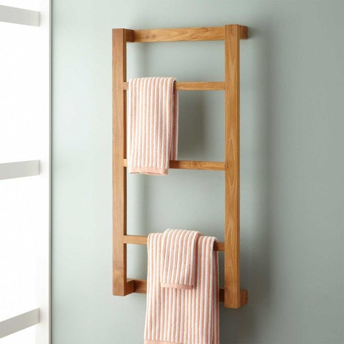 Wulan Teak Hanging Towel Rack Bad Ideen Handtuchhalter Bad