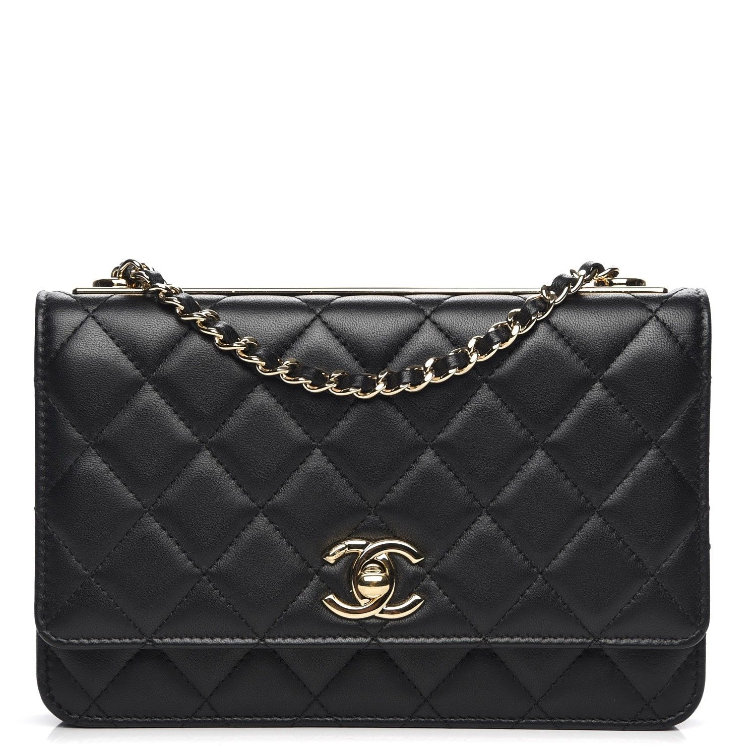 CHANEL Lambskin Quilted Trendy CC Wallet On Chain WOC