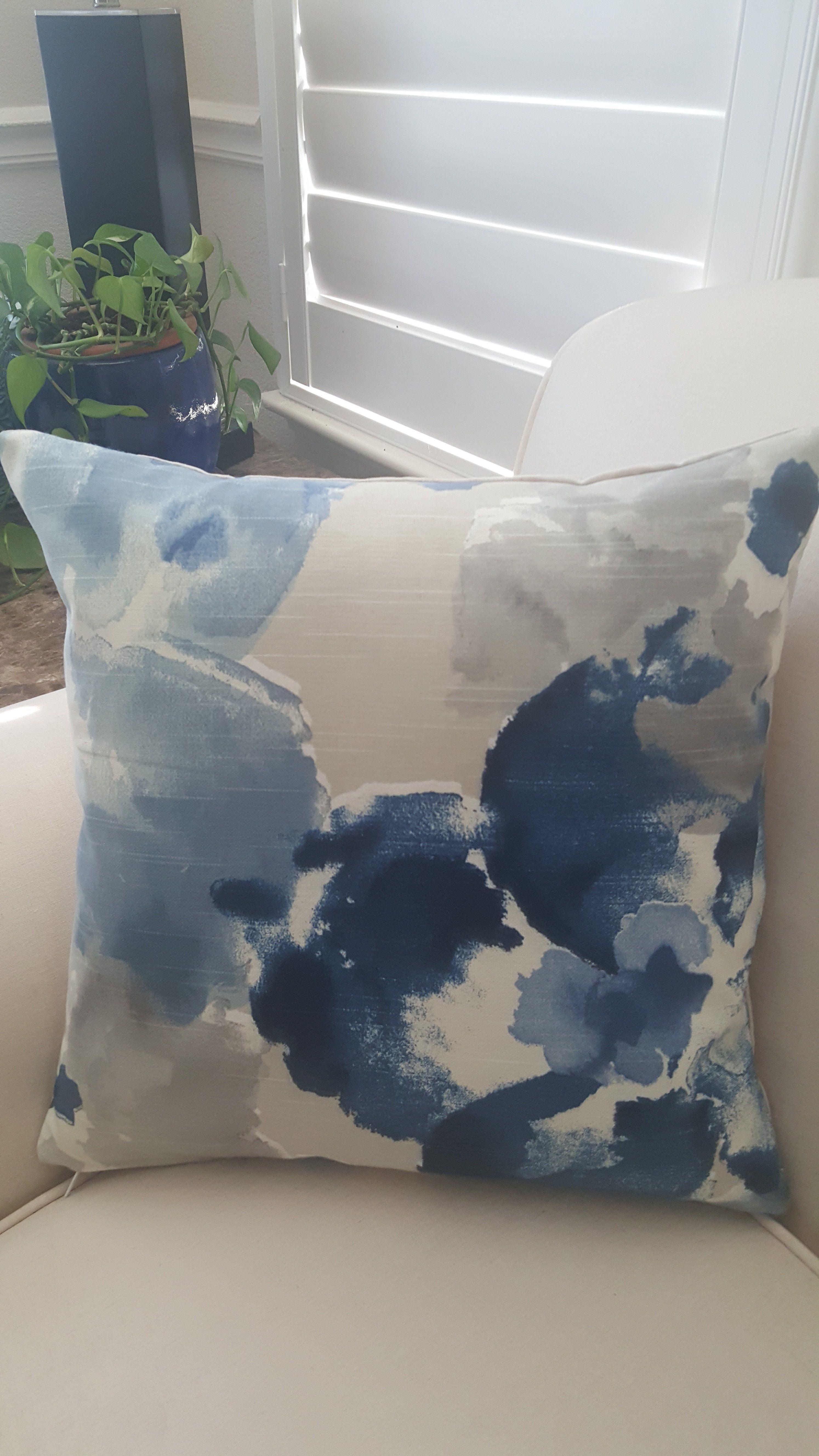 FAST SHIPPING Robert Allen Aptura Indigo Indoor Pillow Cover with Zipper - 14x14 inches