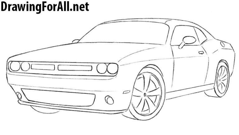 Car Drawing 8 How To Draw A Dodge Challenger Dodge Challenger Wallpaper Ponsel