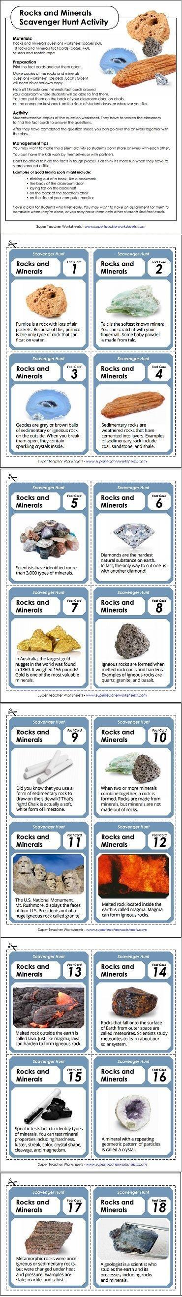 FREE Printable Rocks and Minerals Scavenger Hunt   Rocks and minerals [ 2636 x 370 Pixel ]