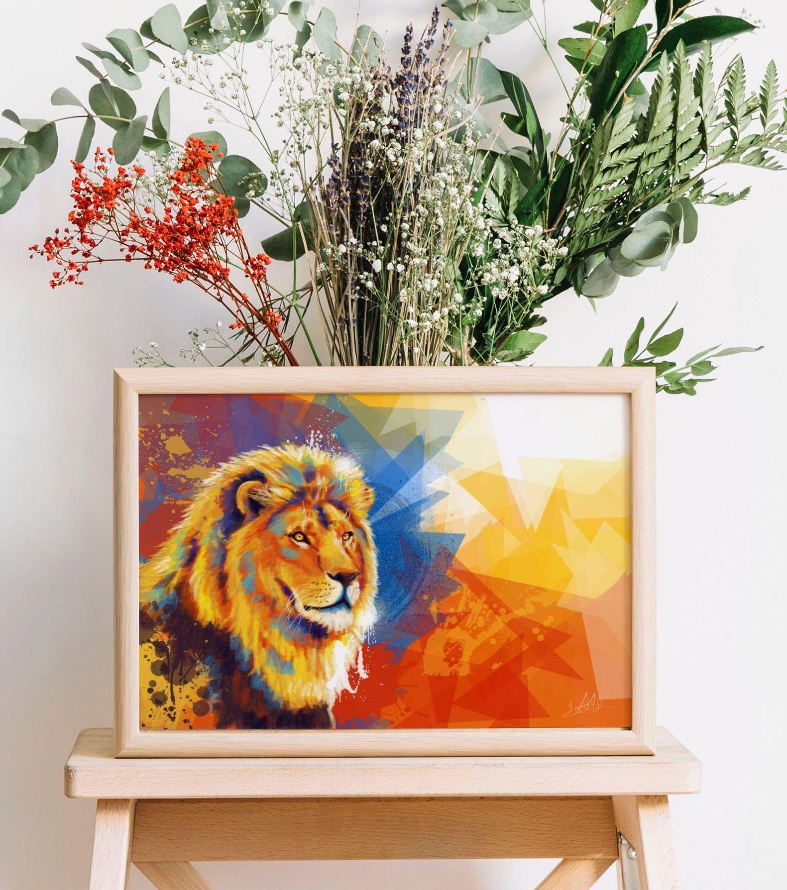 Lion Art Print Colorful Animal Wall Decor Lion Wall Art Colorful Lion Art Posters Art Prints