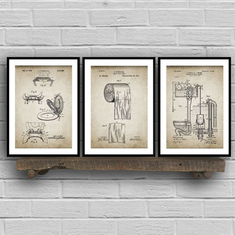 Bathroom Ware Patent Retro Poster Flush Toilet Paper Toilet Lid Patent Vintage Wall Art Canvas Painting Washingroom Decor Pairs In 2020 Vintage Wall Art Wall Art Canvas Painting Canvas Wall Art