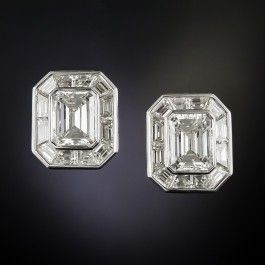 9.58 Carat Total Weight Emerald-Cut Diamond Earrings - Light-up your lobes! Two substantially sized emerald-cut diamonds, almost 3cts each are framed with over 4.00 carats of precision-cut calibrated baguette diamonds which mirror the cut-corner rectangular outline giving the illusion of one huge emerald-cut diamond. Absolutely showstoppingly fabulous! #vintage #diamond #langantiques