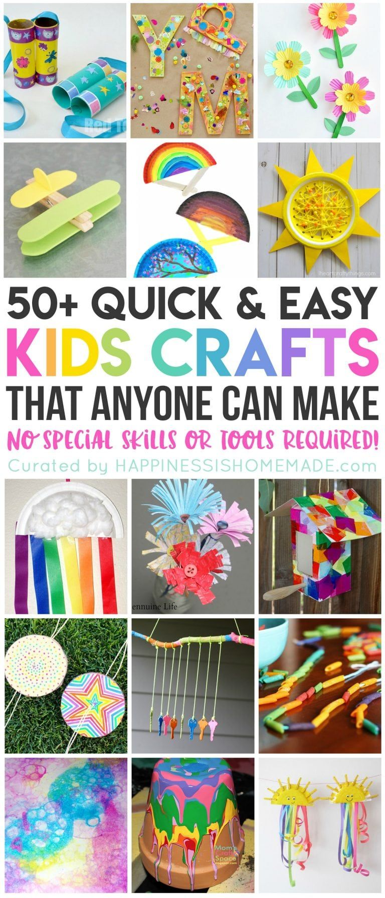 These 50+ quick and easy kids crafts can be made in under