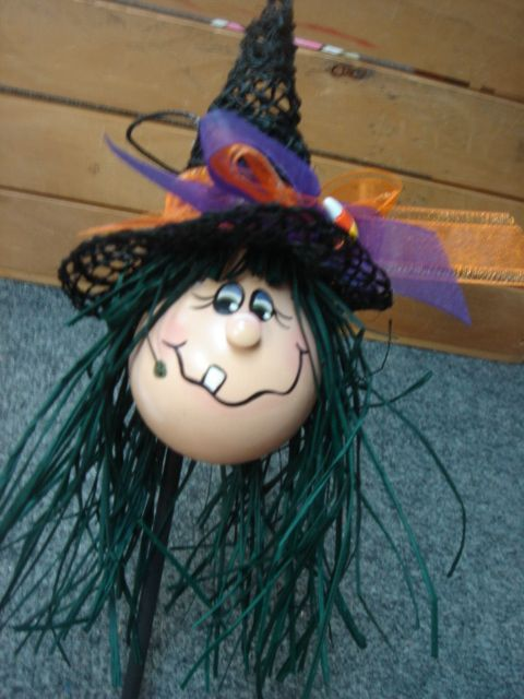 recycled light bulb witch