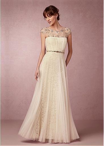 Fabulous Tulle & Lace Scoop Neckline Sheath Wedding Dresses with Beadings & Rhinestones