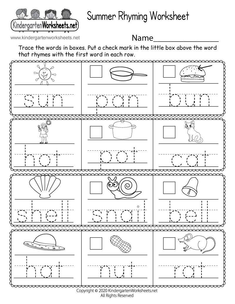 Kindergarten Summer Rhyming Worksheet Rhyming Worksheet Kindergarten Worksheets Sight Words Kindergarten Worksheets
