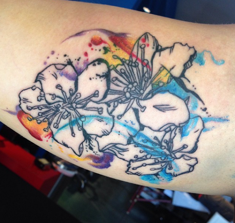 Watercolour Pear Tree Flowers On Inner Arm By Ryan Tews Asteroid M Tattoo Calgary Ab Tattoos Blossom Tattoo M Tattoos