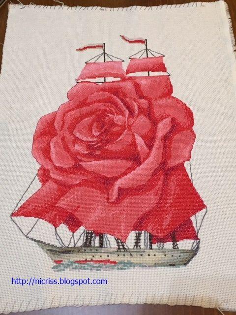 Cristina's Blog: Punto de Cruz - Rosa en el barco