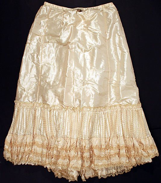 Petticoat Date: 1890s Culture: French Medium: silk Dimensions: Length at CB: 40 in. (101.6 cm) Credit Line: Gift of Messrs. Warren T. and Kendall S. Bryant, 1951 Accession Number: C.I.51.90.10