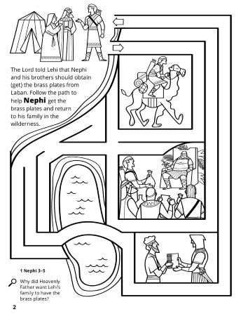 A line maze of Nephi and his brothers path to obtain the Golden - copy coloring pages for book of mormon