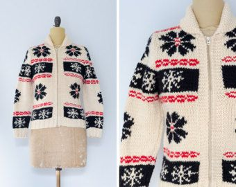 Cowichan Sweater with Geometric Design // Made in Canada - Women's XS/S 82Eqg1KK