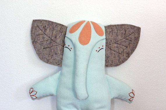RESERVED Oleaf Elephant Doll Natural Materials one by filomeluna