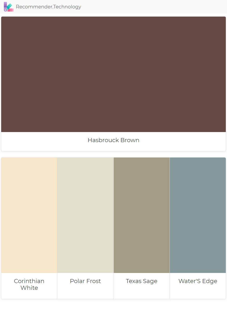 Hasbrouck Brown Corinthian White Polar Frost Texas Sage Water S Edge Paint Color