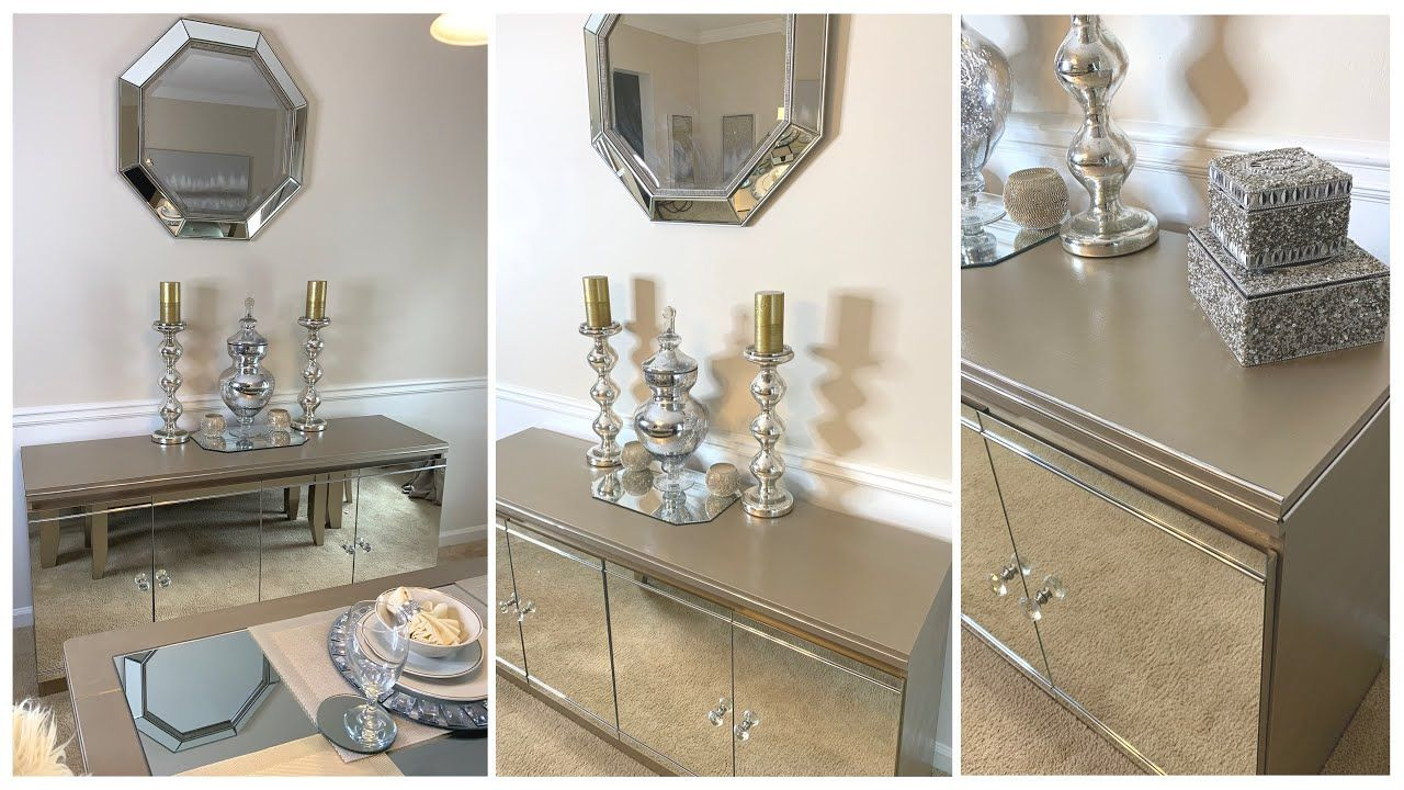 Spring 2020 Refresh Champagne Gold Home Decor Formal Dining Room Youtube Buffet Table Decor Buffet Table Mirror Buffet