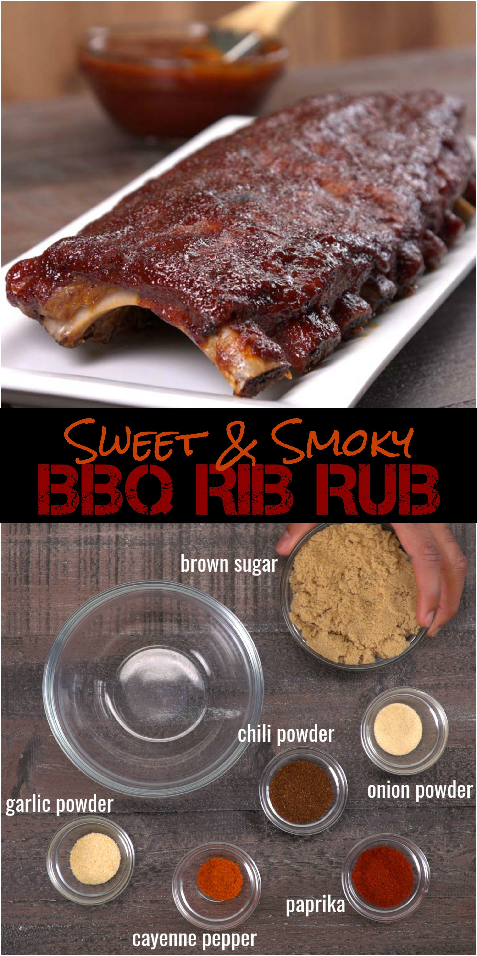 Oven Baked BBQ Ribs with Homemade Rib Rub & BBQ Sauce Massage our 5-ingredient brown sugar rib rub recipe (say that three times fast) into the meat for luscious flavor -- you probably have all of the spices in your cupboard already. And you can use this smoky dry rub for pork ribs of all kinds: baby back ribs, country-style ribs, spare ribs, rib tips.