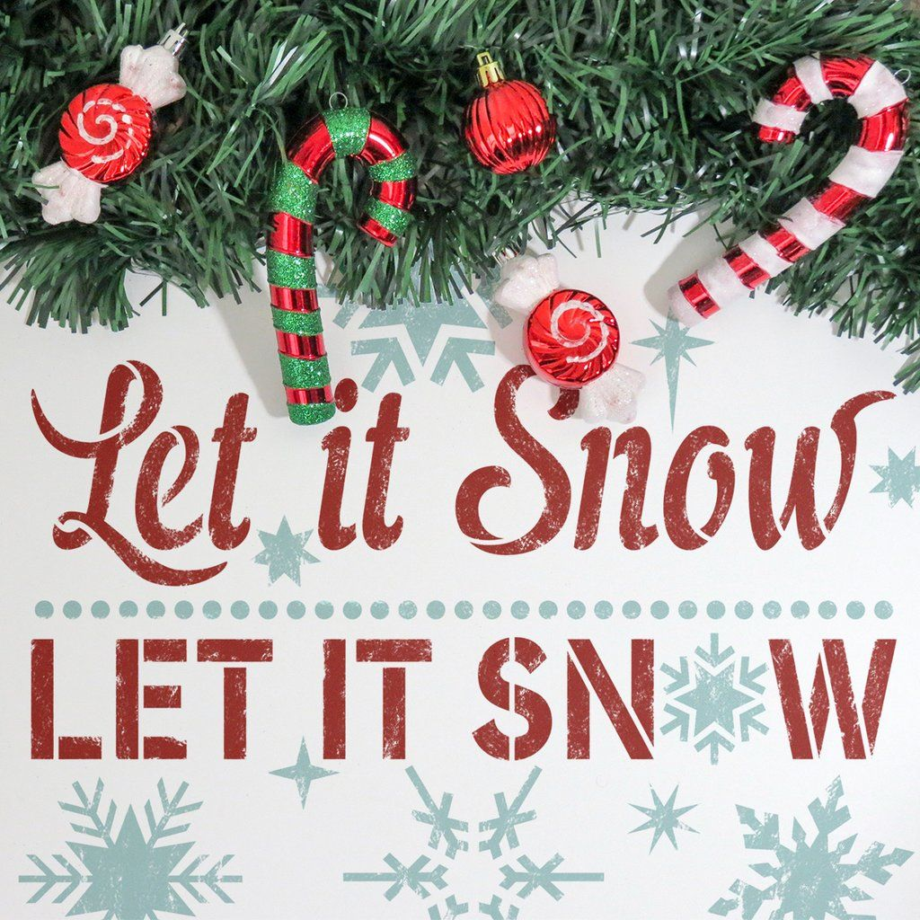 Window decor for christmas  let it snow christmas sign  stencils kit for window decor