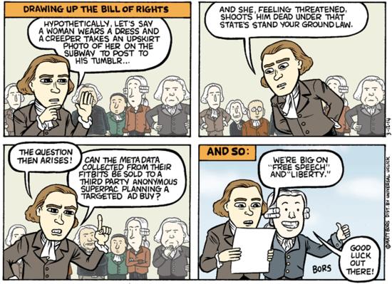 WED MAR 12, 2014 AT 06:50 AM PDT Cartoon: Civil liberties brainbuster byMatt BorsFollowforComics Courtesy Daily Kos