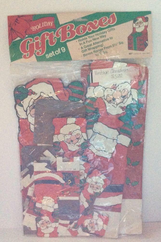 Vintage NOS Giftco Inc Santa Holiday Gift Christmas Gift Boxes Set Of 9