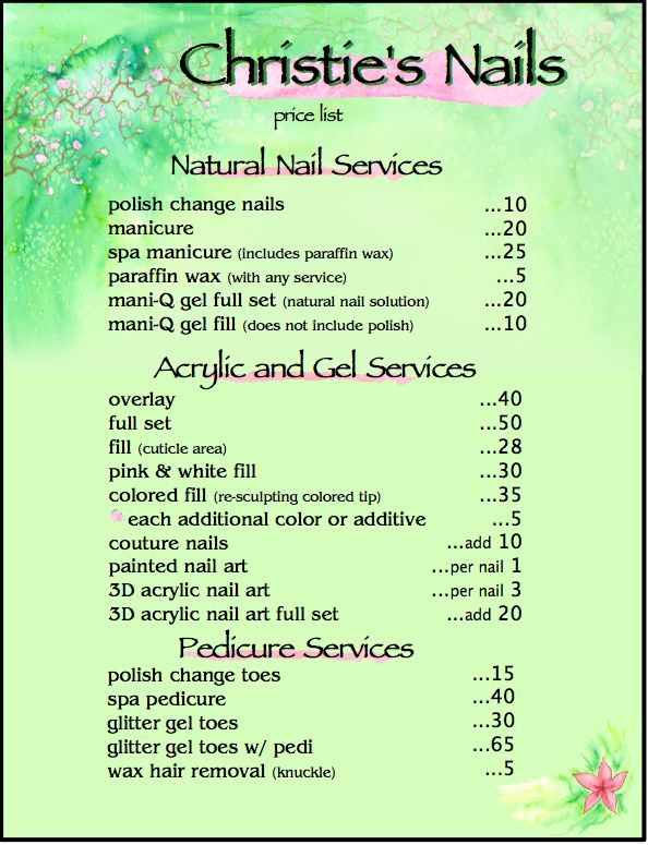 price list for nail services | Christie's Nails | Christie ...