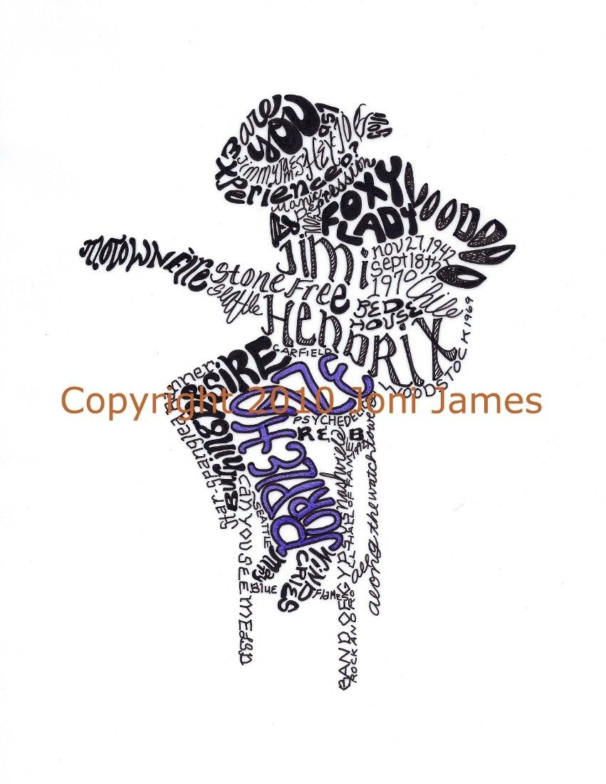 Jimi Hendrix Art Illustration, Hendrix Typography Word Art or Calligraphy Calligram Illustration 8x10 Matted Print. $19.50, via Etsy.