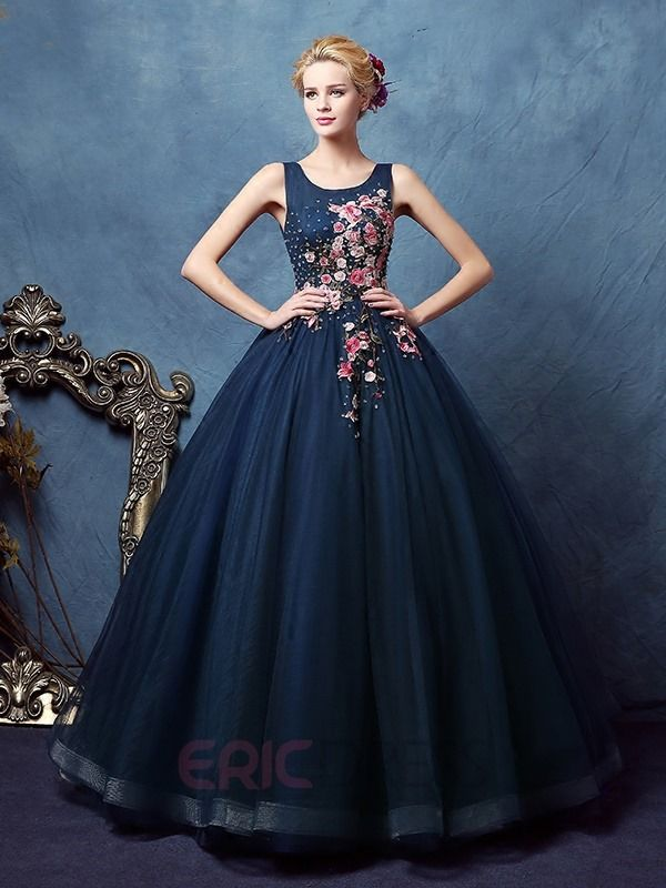 e7a60e3cedc Ericdress Scoop Ball Gown Appliques Beaded Floor-Length Quinceanera Dress 1