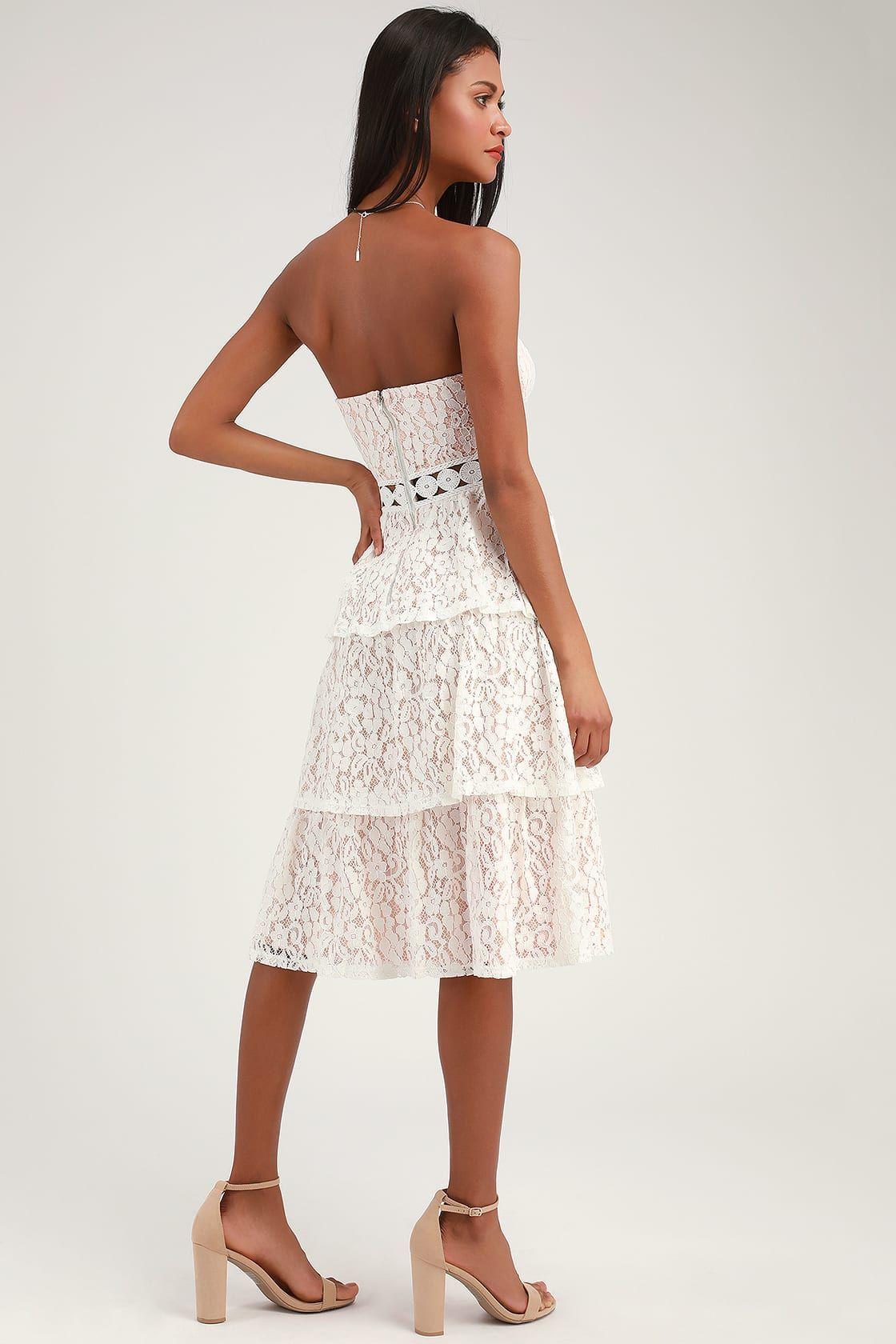 Adorn White Lace Strapless Midi Dress Long Sleeve White Dress Short Strapless Midi Dress White Dresses For Women [ 1680 x 1120 Pixel ]