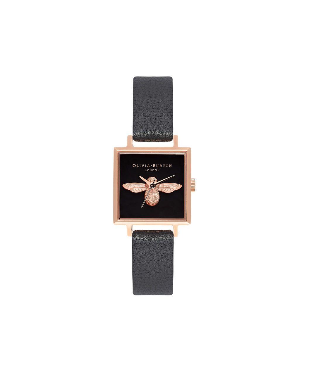 3658318243e Ladies 3D Bee Square Dial Black & Rose Gold Watch | Olivia Burton London | Olivia  Burton US