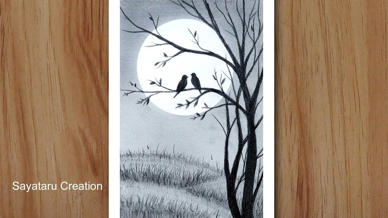 How to draw love birds in moonlight with pencil pencil drawing for ...