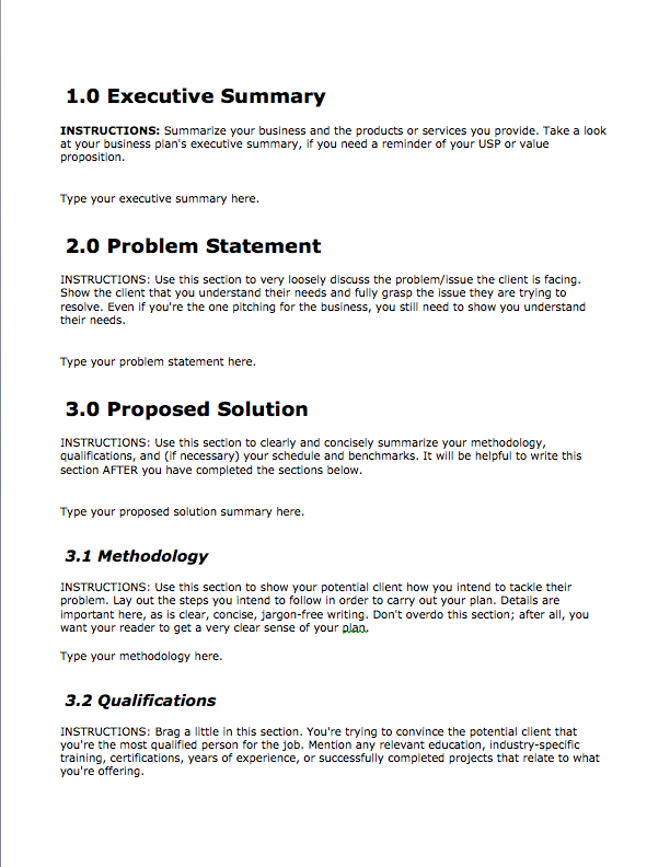 Business Proposal Format Business Template Pinterest Free