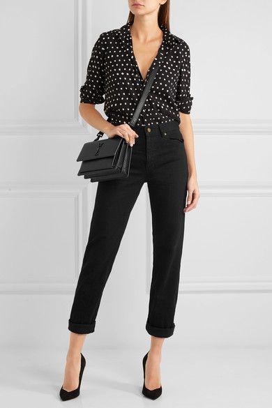 a06ef1b584aab Saint Laurent - Sunset Medium Textured-leather Shoulder Bag - Black ...