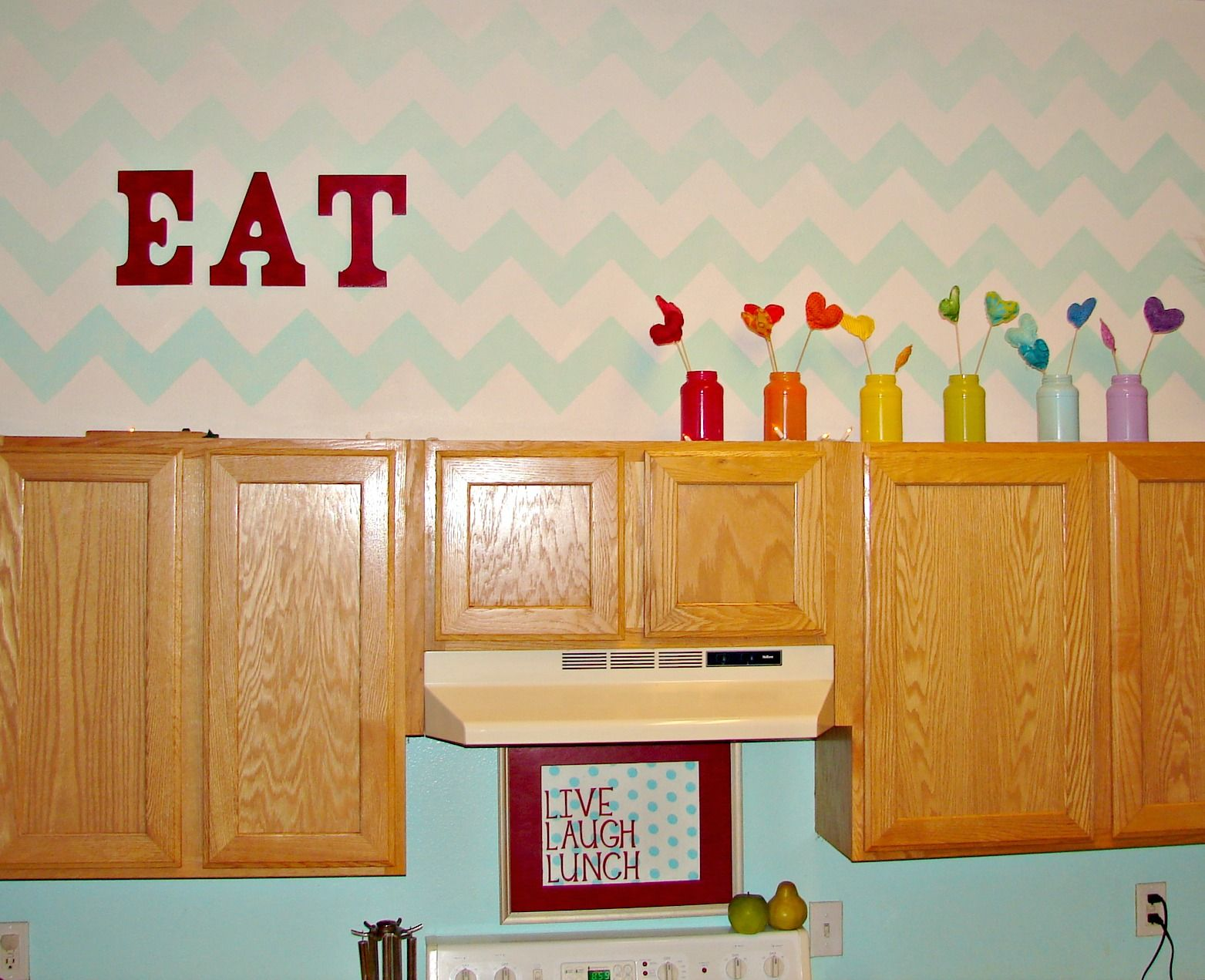 Kimbo From A Girl And A Glue Gun Used Our Chevron Stencil In An Ombre Finsh On A Cabinet Wall Stenciled Painted Walls