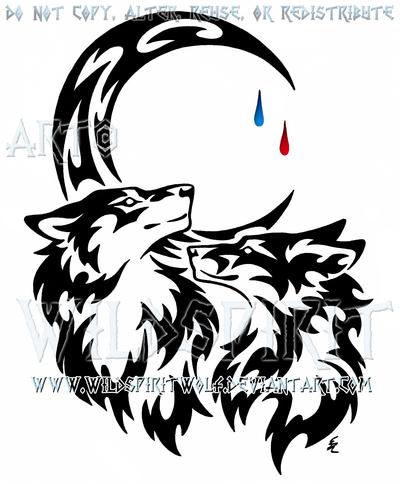 Wolf And Fox Tear Drop Moon Tribal Design Tribal Wolf Tribal Wolf Tattoo Wolf Tattoos