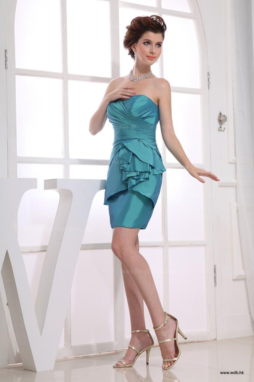 Strapless taffeta short dress with fine ruffle | Modas | Pinterest