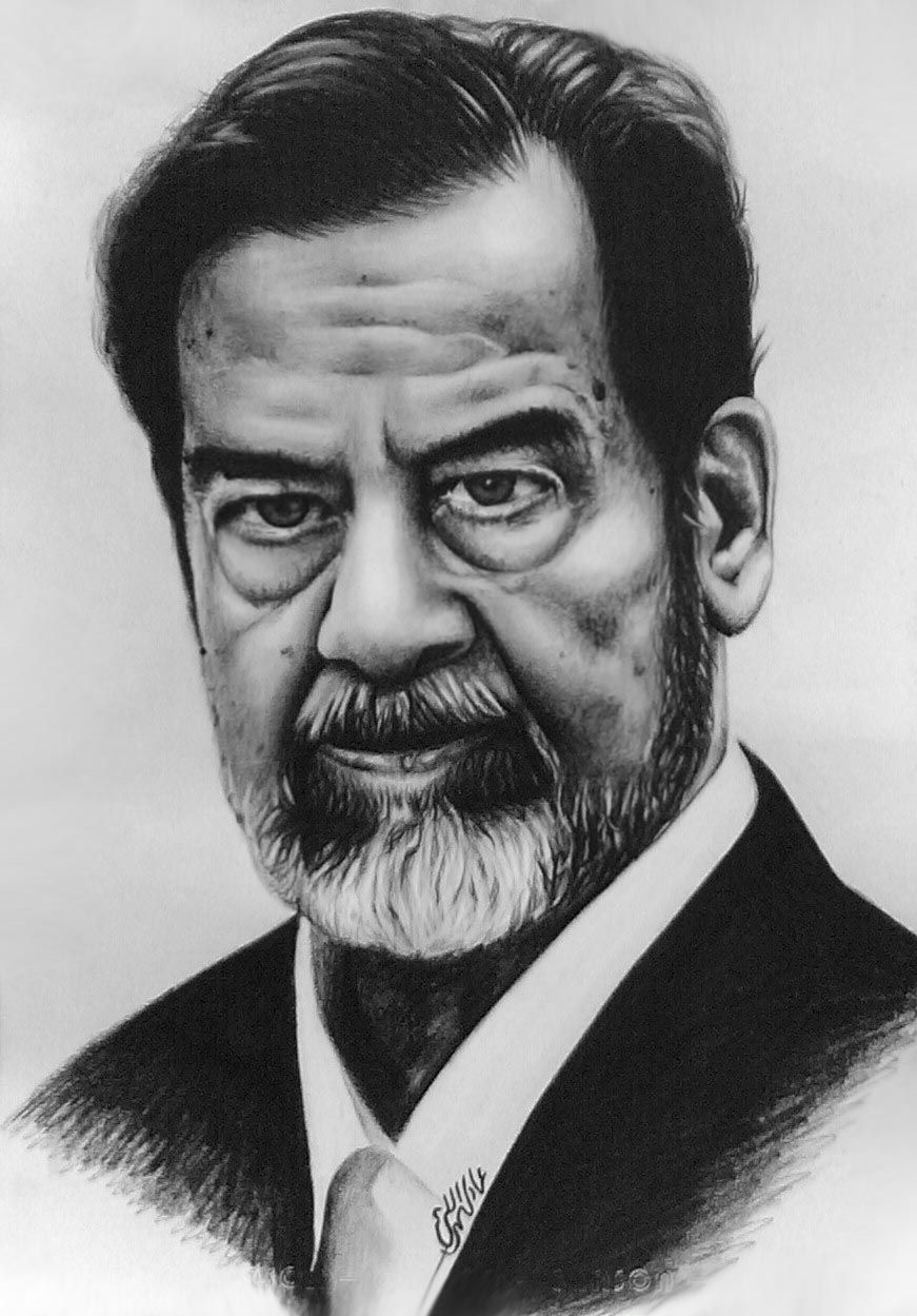 Saddam Hussein The Martyr Hero Commando By Mr Meisho Guevara Celebrity Drawings Portrait Caricature Artist