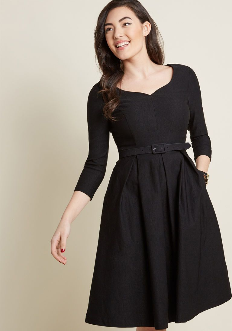 Sartorial Secret Fit And Flare Dress In Black In Xxs Long Fit
