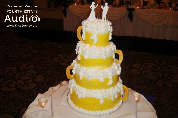 Here it is! Katie and Chris\' creative wedding cake, designed to look ...