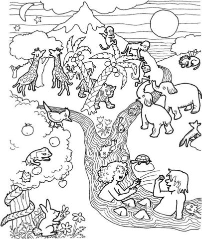 Adam And Eve In The Garden Of Eden Coloring Page From Adam And Eve