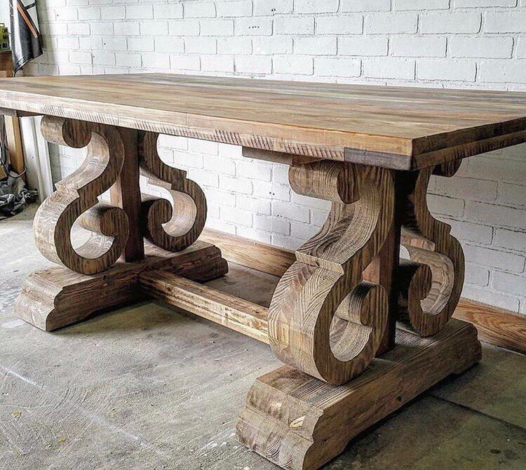 What An Unusual Trestle Table Base Diy Dining Table Dining Furniture Makeover Outdoor Dining Furniture