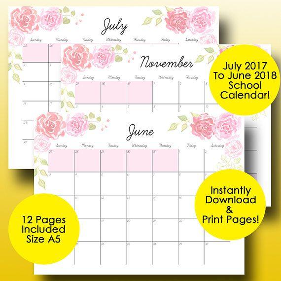 School Calendar Printable Academic Calendar  A Size