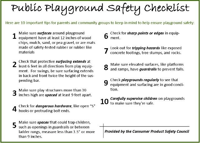 day care safety weekly checklist