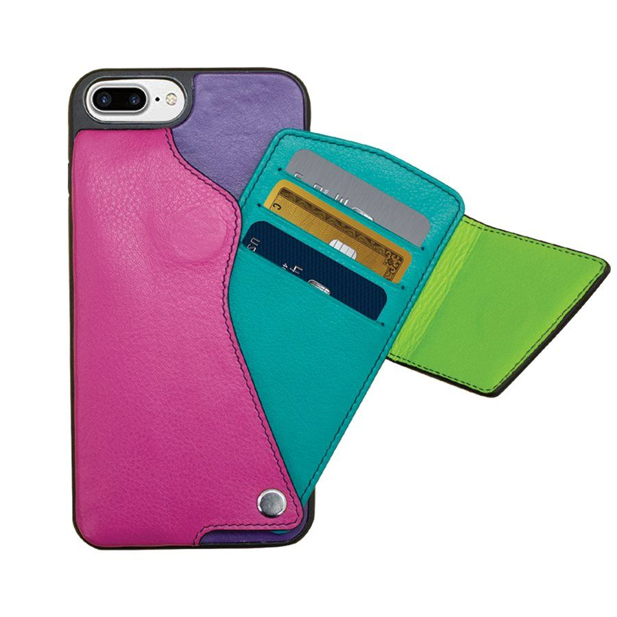 Color leather cell phone credit card case holder in 2020