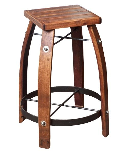 2 Day Designs Reclaimed 28 Inch Stave Wine Barrel Bar Stool With Wood Seat Wine Furniture At Ha Wine Barrel Bar Stools Wine Barrel Furniture Barrel Furniture