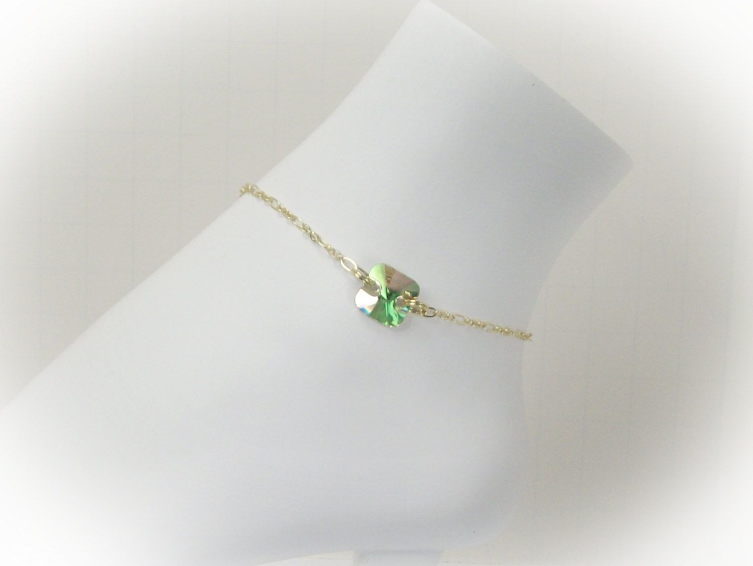 ankle bracelet crystal s celtic swarovski adjustable etsy by pin knot bracelets on anklet women jasglassart aqua